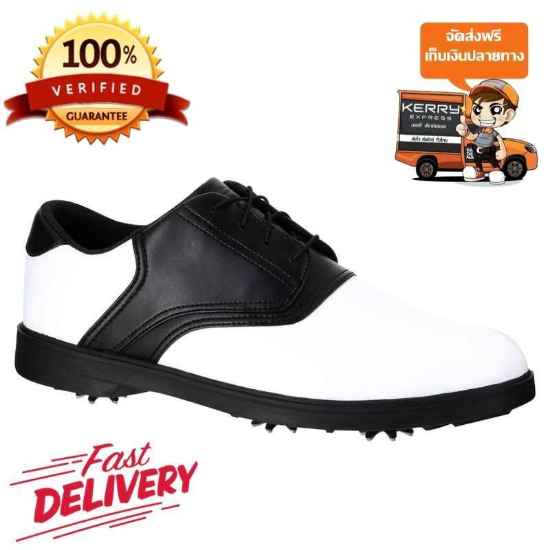 รองเท้ากอล์ฟสำหรับผู้ชาย แบบปุ่มยาง Inesis รุ่น 500 (สีขาว/ดำ) ผลิตด้วยวัสดุกันน้ำเพื่อให้เท้าของคุณแห้งสบายตลอดเวลา! *ฟรีค่าจัดส่ง* By Cpn Shopping.