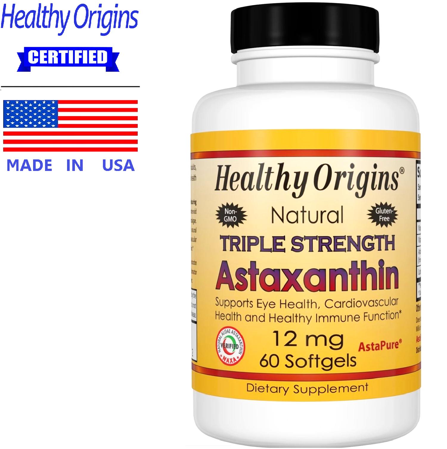 Healthy Origins Astaxanthin 12 mg x 60 เม็ด Aspire® เฮลท์ตี้ ออริจินส์ แอสตาแซนทิน สาหร่ายแดง สารต้านอนุมูลอิสระ แอสตร้าแซนธิน