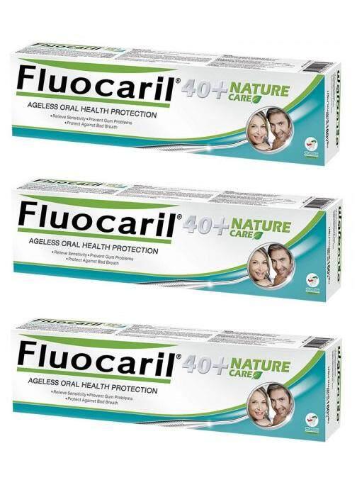 Fluocaril 40Plus Nature Care 160 g.ยาสีฟัน ฟลูโอคารีล 40 พลัส เนเจอร์ แคร์ ยาสีฟันสำหรับคนวัย 40 ปี 160 กรัม(แพ็ค3ชิ้น)