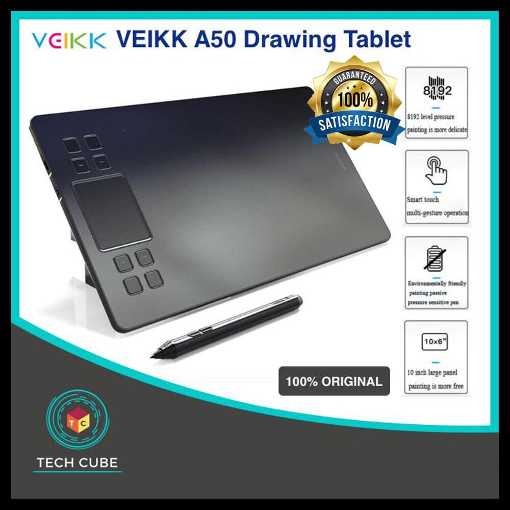 รับประกัน 1 ปี Veikk A50 รุ่นปรับปรุงกราฟิกแท็บเล็ต 8192 ระดับระดับมืออาชีพ Type-C ดิจิตอลวาดแท็บเล็ตแอนิเมชั่กับของขวัญ.