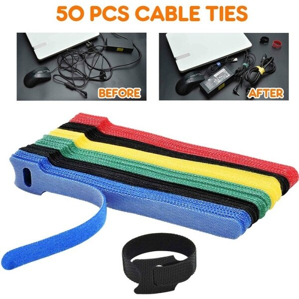 50PCS Reusable Color Mixing Cable Cord Strap Hook Loop Ties Tidy Organiser Tool Fastener Management