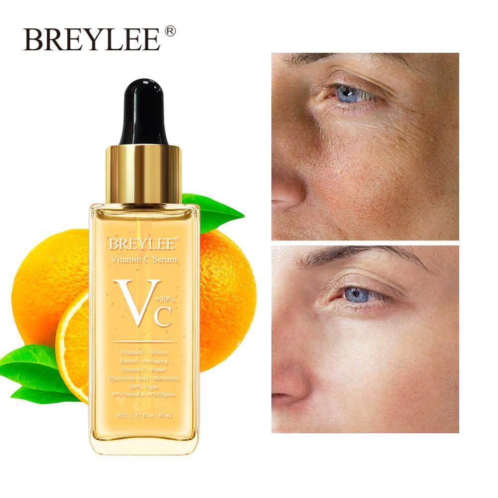 BREYLEE เซรั่มบำรุงผิว เอสเซนส์บำรุงผิว วิตามินซี ไวท์เทนนิ่ง คุมมัน ลดเลือนริ้วรอย Vitamin C Serum Whitening Dark Spots Repair Hyaluronic Acid Moisturizing Anti Aging Facial Essence Face Skin Care 40ml
