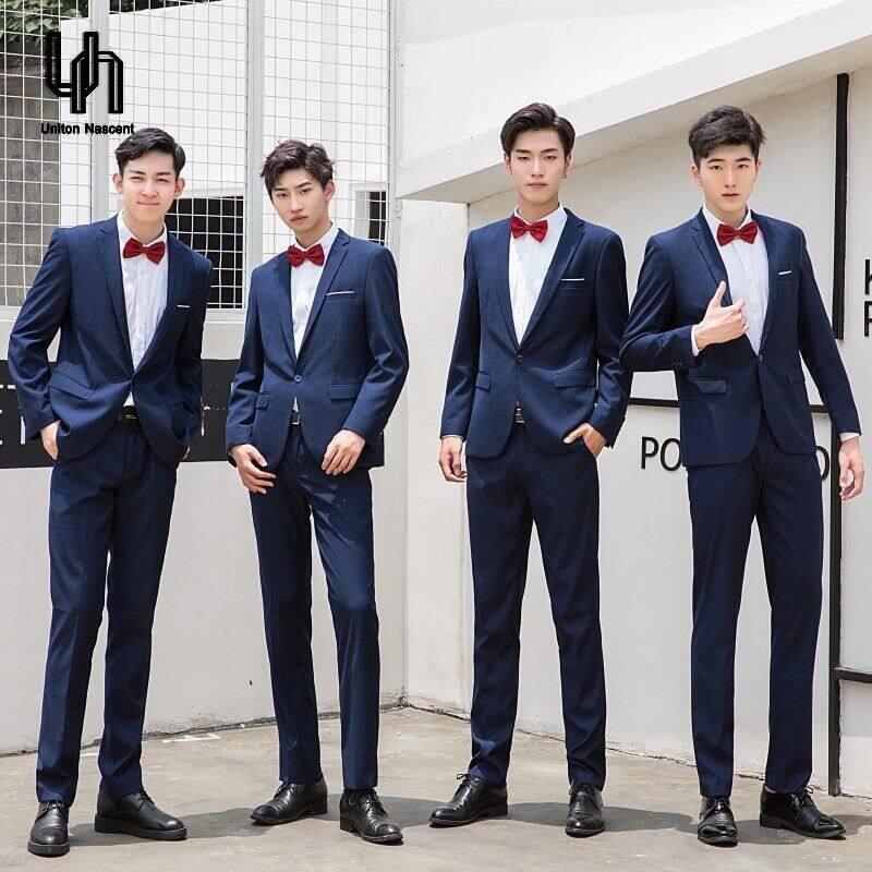 Un ชุกสูทสไตล์เกาหลีชุดสูทสลิม 3 ชิ้น ชุดเจ้าบ่าวชุดแต่งงานผู้ชายเสื้อผ้าผู้ชายสบาย ๆ เสื้อสูทแต่งงาน + เสื้อ + กางเกง.
