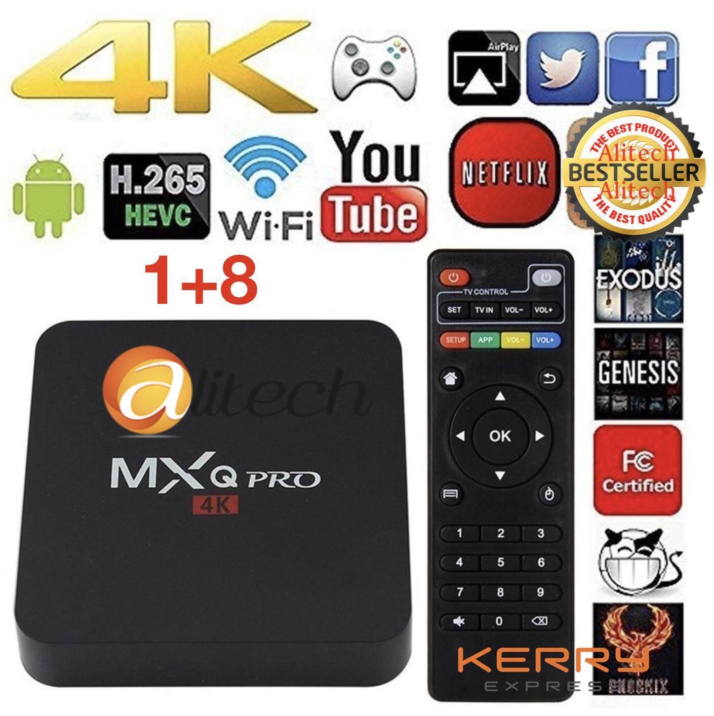 Alitech MXQ PRO 4K กล่อง Andriod Smart TV รุ่นใหม่อัพเกรดแอนดรอยด์ 7.1 / CPU 4x ARM Cortek-A7 1.50 GHz / RockChip H3 / Ram 1 GB Rom 8 GB / ดูหนัง ฟังเพลง เล่นเกม ดูฟรีทีวีออนไลน์ได้ทั่วโลก / เชื่อมต่อได้ทั้ง WIFI และ สาย Lan / รองรับ USB / พร้อมสาย HDMI