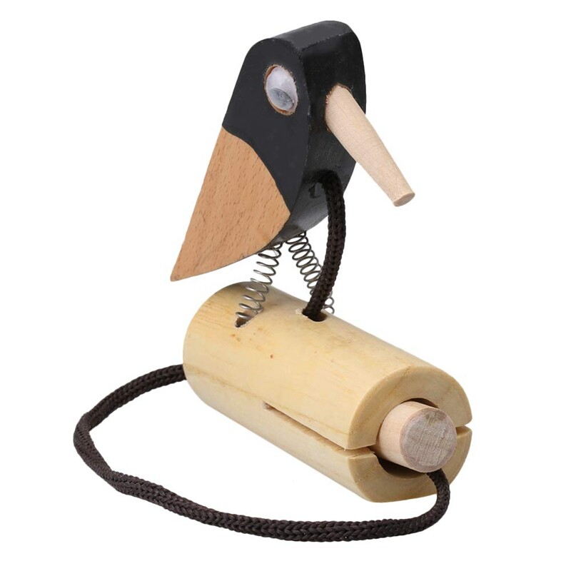 Solid Real Wood Pull Rope Woodpecker Tone Block for Kids