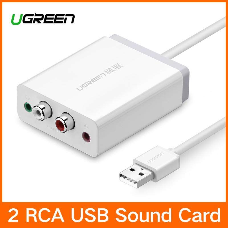 Ugreen 2 Rca Usb Sound Card Audio Interface 3.5mm Usb External Sound Card Adapter Usb Adapter To Speaker Microphone For Laptop Computer External Sound Card White By Ugreen Flagship Store