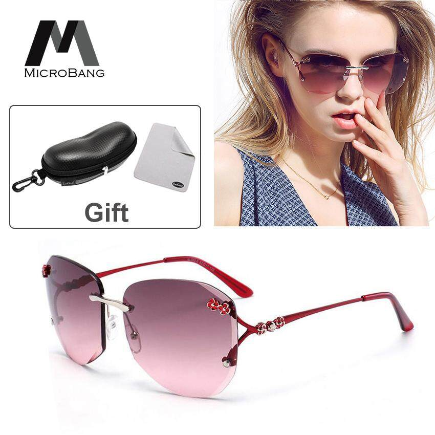 86ea3382f MicroBang Sunglasses Women Eyewear Accessories Fashion Shades Sun Glasses  With-Box Square Oversized Rimless Diamond