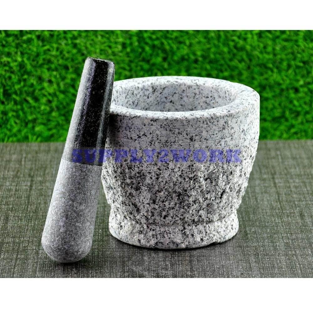 S2w ครกหินแกรนิต ผิวนอกด้าน ขนาด 6.5 นิ้ว + สากหินแกรนิต By Bangkok Kitchenware.