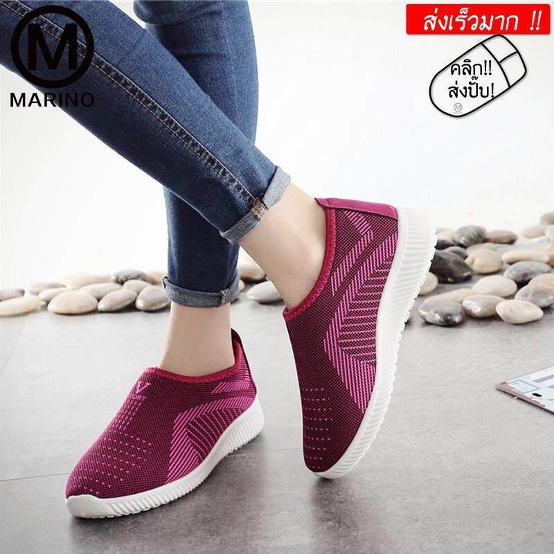 Marino รองเท้า รองเท้าผ้าใบ รองเท้าผ้าใบแฟชั่น รองเท้าทรงสลิปออน รองเท้าผ้าใบผู้หญิง No.a083 By Marino.
