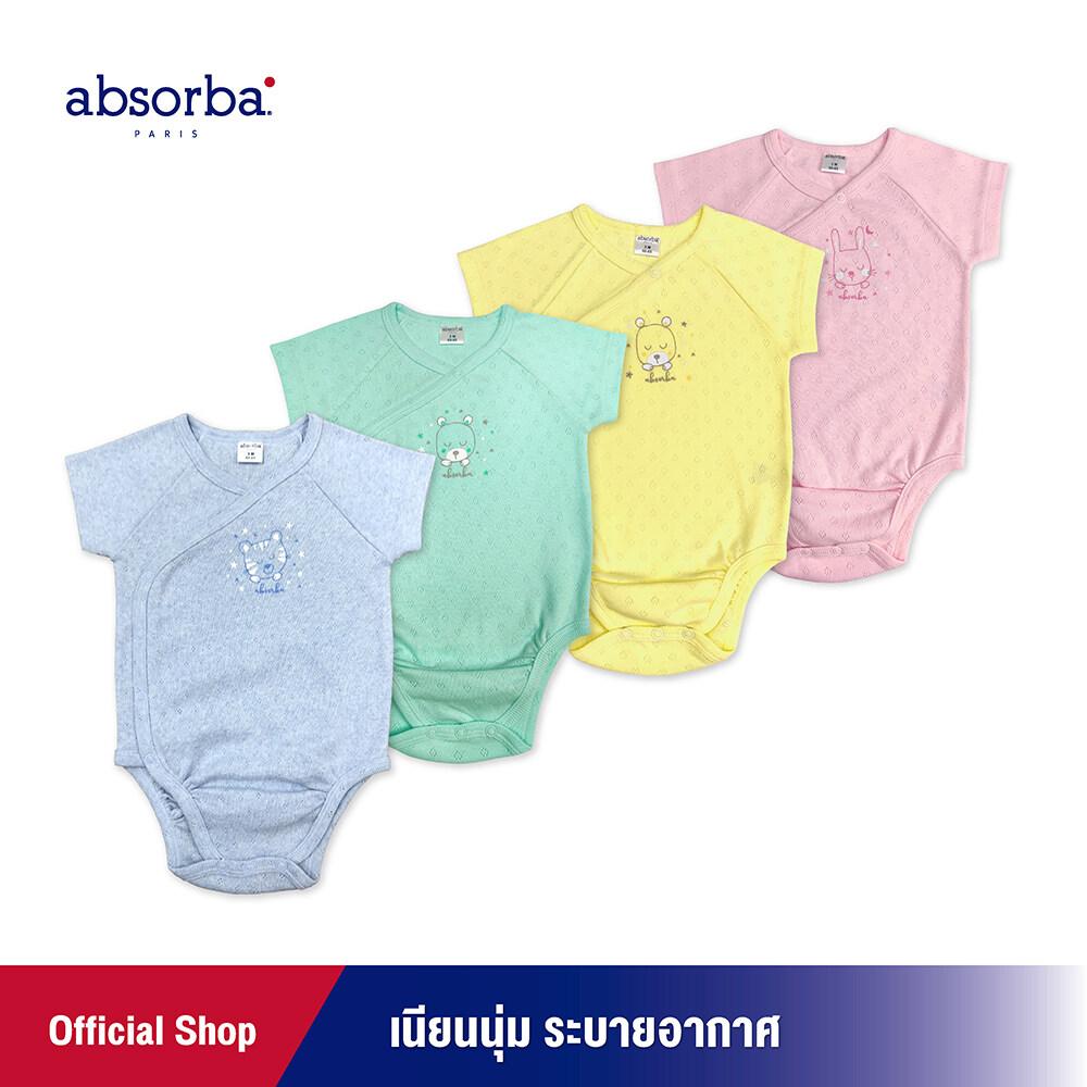 แนะนำ absorba(แอ็บซอร์บา)ชุดบอดี้สูทเด็กอ่อนแขนสั้น แพ็ค 1 ตัว สำหรับเด็กแรกเกิด-6 เดือน มี 4 สีให้เลือก ฟ้า เขียว เหลือง ชมพู R1C0003