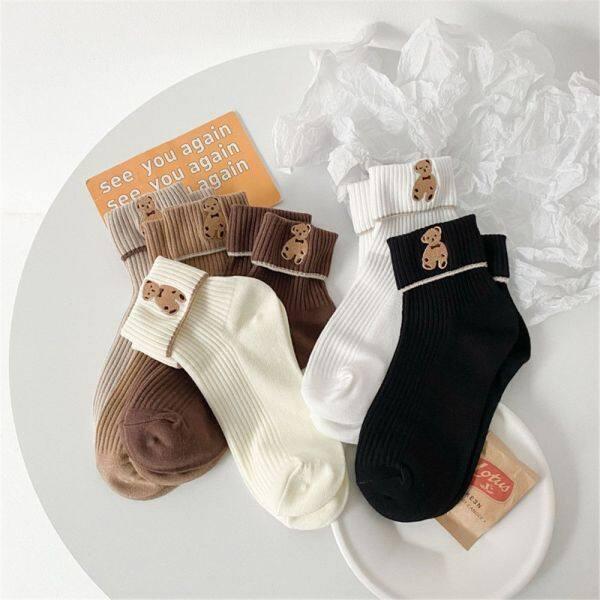 Giá bán DOYOURS 1 Pair Fashion Solid Color Cute Tube Socks Cartoon Bear Embroidered Ankle Sock Socks