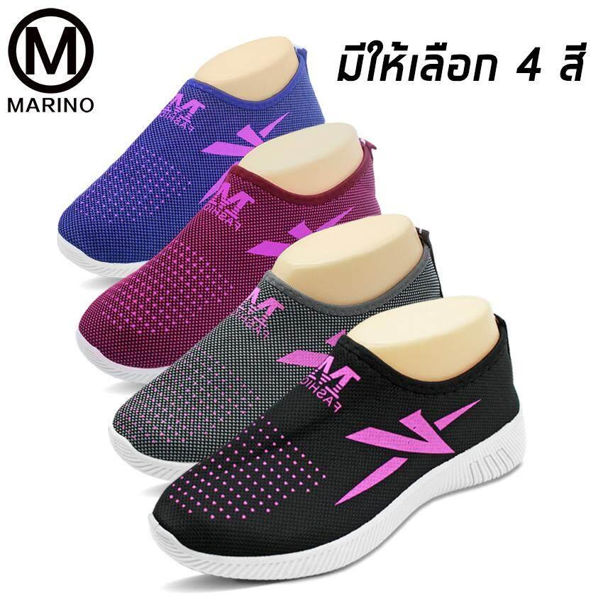 Marino รองเท้า รองเท้าผ้าใบ รองเท้าผ้าใบแฟชั่น รองเท้าทรงสลิปออน รองเท้าผ้าใบผู้หญิง No.a096.