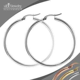 555jewelry ต่างหูห่วง แฟชั่นสำหรับผู้หญิงแบบห่วงกลม ทำจากสแตนเลสสตีลแท้ ผิวขัดเงา ดีไซน์แบบสวยเรียบมินิมอลน้ำหนักเบา รุ่น FSER31 สีเงิน (ER58)-