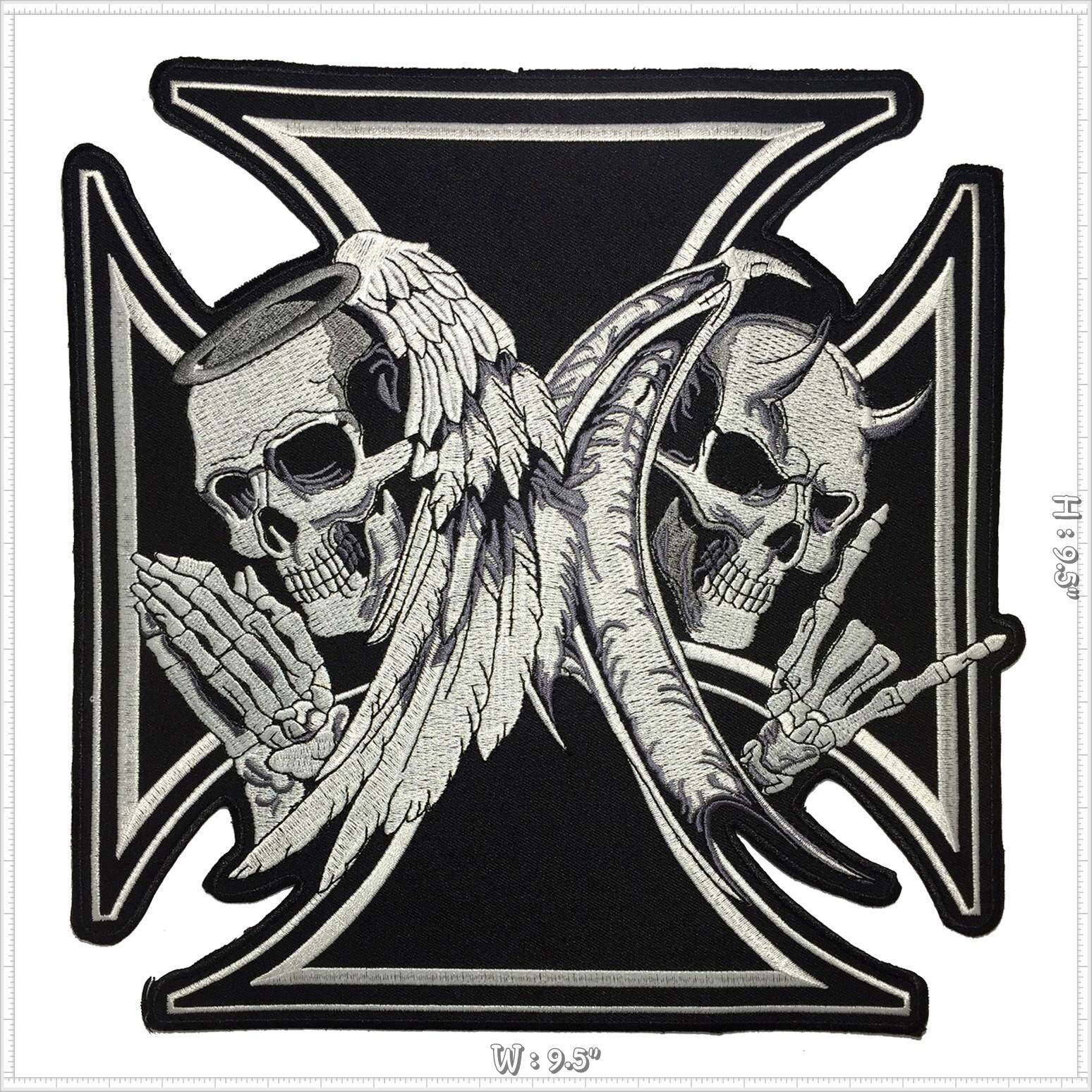 Skull with Blue Wings Embroidered Iron on Patch Free Shipping