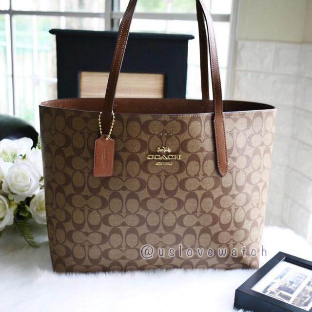 NWT Coach F67108 IMAA8 Signature Avenue Tote  Brown Black