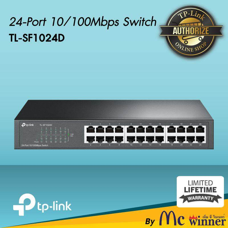 Switch Hub (สวิตซ์ฮับ) Tp-Link Tl-Sf1024d 24-Port 10/100mbps Rackmount Switch (black) -Lifetime (by Synnex).