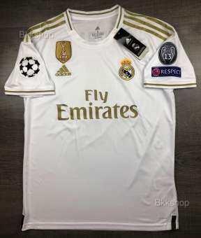 เสื้อบอล เรอัล มาดริด เหย้า 2019-20 Real Madrid Home  พร้อม อาร์มแชมเปี้ยนลีคครบชุด สีขาว