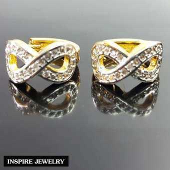 Inspire Jewelry ,ต่างหูอินฟีนิตี้ Infinity ฝังเพชรสวิส หุ้มทองแท้100% 24K  ความยิ่งใหญ่มหาศาล ร่ำรวย ไม่มีที่สิ้นสุด