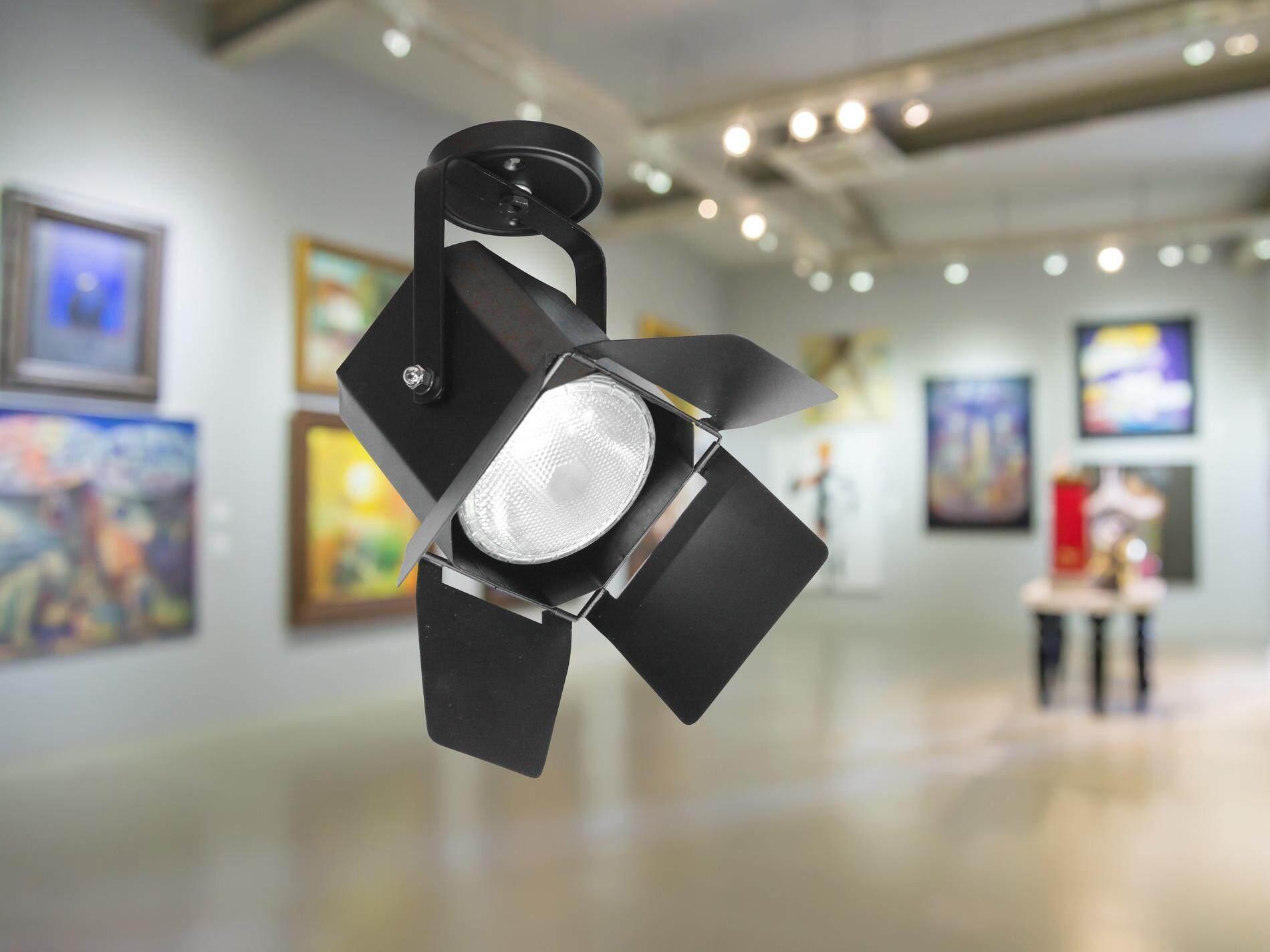 Dento โคมสปอทไลท์ติดแป้น Spotlight 1xe27 สีดำ Fb156m.