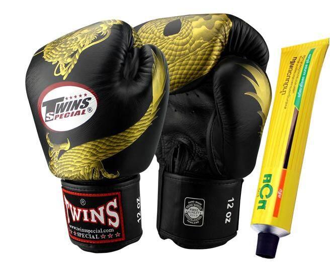 ( 16 ออนซ์) นวมชกมวยแฟนซี Twins Special Boxing Fancy Gloves Fbgv-49 ลายมังกร พื้นดำ แถมฟรี ครีมน้ำมันมวย 30 กรัม By The Global Porter.