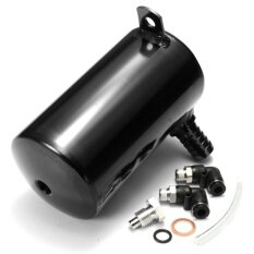 ขาย ซื้อ ออนไลน์ 5L Car Engine Modified Oil Catch Tank Breather Reservoir Can Alloy Black Intl