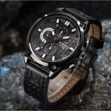 ราคา รับประกัน 1 ปี Naviforce นาฬิกาข้อมือ สายหนังสีดำ รุ่น Nf9068 Bwb หน้าปัดใช้งานได้จริงทุกเข็ม