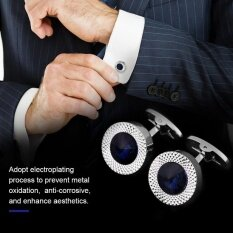 ส่วนลด 1 Pair French Elegant Crystal Cuff Links Shirt Cuff Link With Black Box For Lawyer Groom Wedding Intl จีน