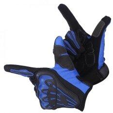 โปรโมชั่น 1 Pair Full Finger Motorcycle Bike Cycling Protective Gloves Blue L Intl Unbranded Generic