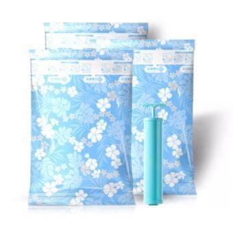 ชุดถุงสุญญากาศ ลาย ดอกไม้ สีขาว 10 ใบ พร้อม กระบอกสูบมือ