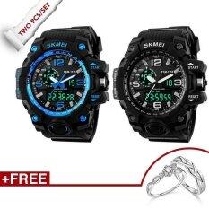 ซื้อ 100 Genuine 2 Pcs Skmei 1155 Fashion Men Digital Led Display Sport Watches 50M Waterproof Dual Display Quartz Wristwatches Rings Free ใน สมุทรปราการ