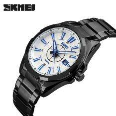 100 Genuine Skmei Men Luxury Fashion Analog Quartz Watch Complete Calendar Stainless Steel Waterproof Mens Wristwatches จีน