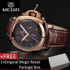 ราคา 【100 Original】Megir 3006G Mens Watches Chronograph Quartz Wrist Watch With Alloy Case And Brown Genuine Leather Band Intl ใหม่