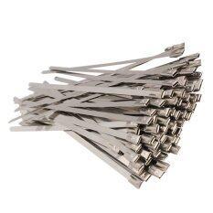 100 ชิ้น 4.6x150 สเตนเลสสตีลเทปพันท่อไอเสียเคลือบสายไทซิป - Intl.