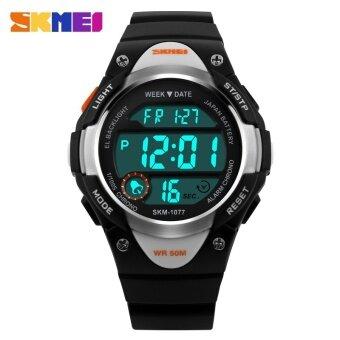 1077 นาฬิกาแบรนด์นาฬิกากีฬาสำหรับเด็กเด็กหญิง LED ดิจิตอลปลุกนาฬิกาจับเวลากันน้ำนาฬิกาข้อมือเด็กแต่งตัว - นานาชาติ