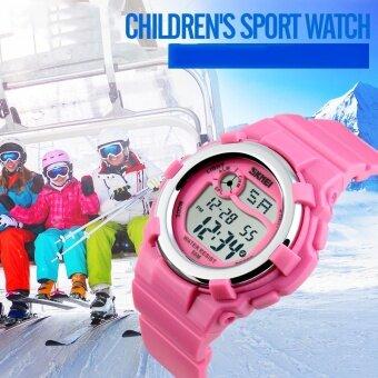 เด็กเด็กจีนใหม่ 1161 SKMEI แบรนด์นาฬิกาแฟชั่นวงสร้อยข้อมือสีเขียวสีชมพูนาฬิกาข้อมือกันน้ำ 50 เมตรนาฬิกาดิจิตอล LED - นานาชาติ