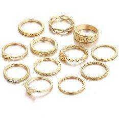 12 ชิ้นแหวนชุดสไตล์ย้อนยุคแกะสลักโลหะผสมหลายขนาดแหวนชุดสำหรับผู้หญิงหญิงทอง - นานาชาติ.