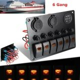 ขาย ซื้อ 12V 24V 6 Gang Waterproof Orange Led Switch Panel Voltmeter Battery Car Marine Boat Intl ใน จีน