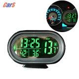 ซื้อ 12V 24V Digital Auto Car Thermometer Car Battery Voltmeter Voltage Meter Tester Monitor Noctilucous Clock Freeze Alert Intl