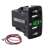 ซื้อ 12V 3 1A Dual Usb Car Cigarette Lighter Socket Charger Green Led Voltmeter For Honda Intl ถูก