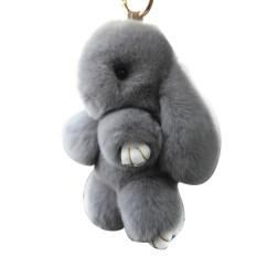 13ซม. กระต่ายขนกระเป๋าพวงกุญแจตุ๊กตากระต่ายมินิจี้ตุ๊กตาน่ารักสีเทา.