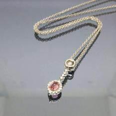 ขาย สร้อยคอทองขาว14เค จี้ไพลินแท้สีชมพู 3Ct Pink Sapphire Necklace 14K White Gold กรุงเทพมหานคร