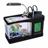 ราคา ตู้ปลา ตั้งโต๊ะอเนกประสงค์ ขนาด 1 5 ลิตร สีดำ พร้อมโคมไฟและ นาฬิกาดิจิตอล Tank ใหม่