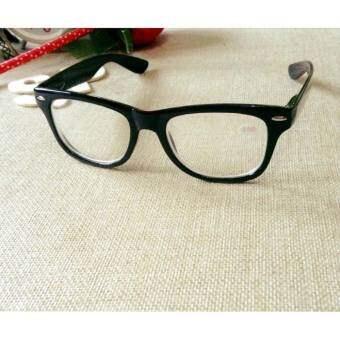 แว่นตาสายตาสั้น-150 เต็มกรอบเหลี่ยมดำมันขาสปริง