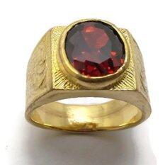 ซื้อ แหวน ทอง ประดับพลอยโกเมน รูปไข่ ตัวเรือนทองเหลือง 18 มิล ใหม่