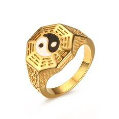 ราคา 18K Gold Stainless Steel China National Wind Ornaments Taoist Tai Chi Gossip Ring Mens Jewelry Intl ใหม่