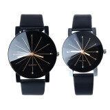 โปรโมชั่น 1 คู่ทั้งชาย และหญิงหมุนนาฬิกาข้อมือนาฬิกาควอทซ์หนังสีดำ