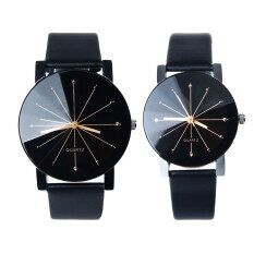 โปรโมชั่น 1 คู่ทั้งชาย และหญิงหมุนนาฬิกาข้อมือนาฬิกาควอทซ์หนังสีดำ ถูก