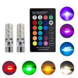 ซื้อ 1Pair Multi Color T10 5050 Smd Rgb Remote 6 Led Controller Reading Wedge Light Bulb ถูก จีน