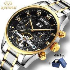 ซื้อ 1Pcs Luxury Brand Kinyued Skeleton Watch Men Mechanical Automatic Calendar Watches Stainless Steel Strap Tourbillon Gold Wristwatches For Man Women Intl Kinyued ออนไลน์