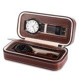 ขาย 2 Grids Pu Leather Travel Watch Storage Case Zipper Wristwatch Box Organizer Intl จีน ถูก